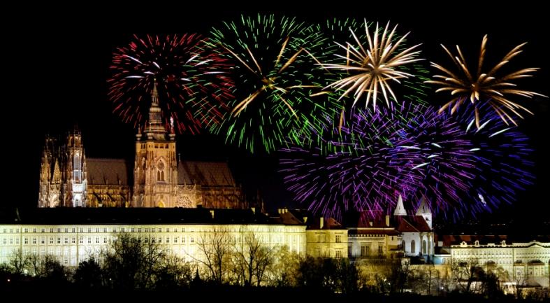 Prague castleand New Year celebrations