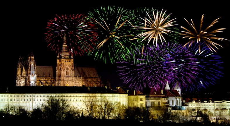 Prague castleand New Year celebrations