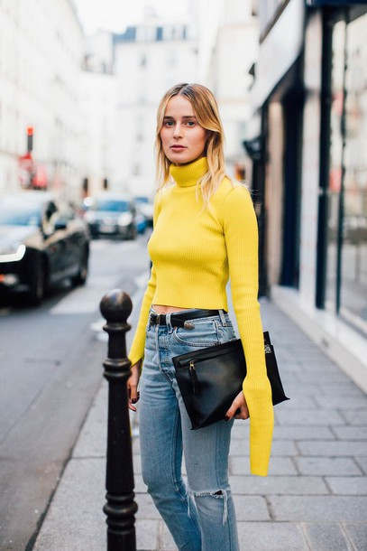 8nj7ow-l-610x610--fashion+week+street+style-fashion+week+2016-fashion+week-paris+fashion+week+2016-yellow-long+sleeves-turtleneck-cropped+turtleneck-belt-denim-jeans-blue+jeans-ripped+jeans-bag-2.jpg
